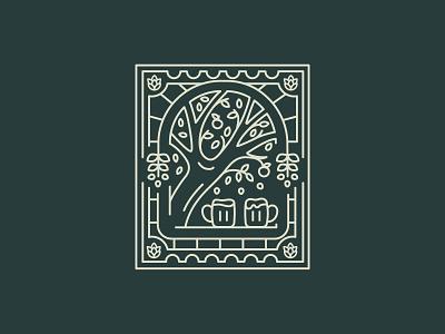 Tree illustration postcard: logo design illustraion brewery branding tree illustration