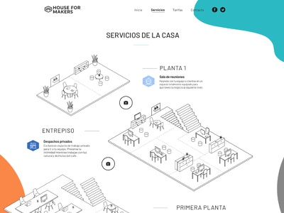 Web design for the Houseformakers illustrations website architecture house icon makers designers hexagon branding coworking fablab