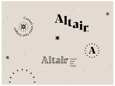 Altair garment brand applications light altair fashion star logo design branding garments