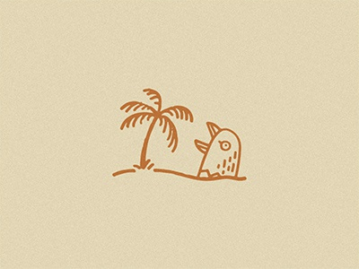 Giant Bird Stuck In The Sand Screaming At A Tree logos icons bird line work design illustration