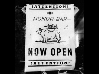 Now Open restaurant bar attention illustration layout poster