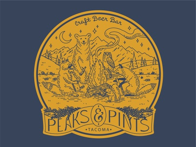 Forest Friends design for Peaks and Pints seattle washington tacoma handlettering illustration designers designer brewery pnw outdoors pints beer linework hand drawn animals forest animals