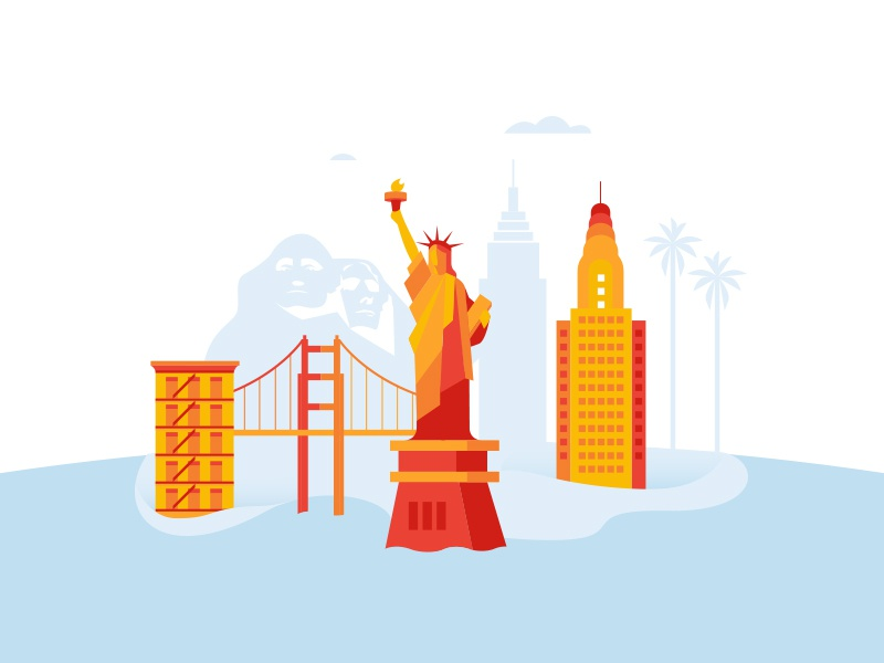 usa united states sea globe geometric city buildings illustration island travel america vector country