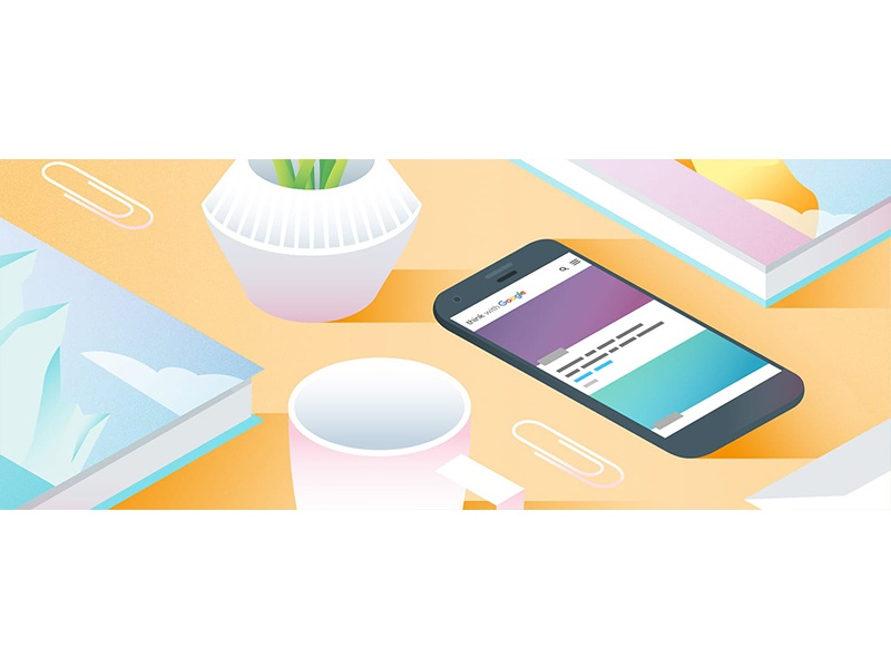 Desk plant gradient pastel mug desk angle smartphone phone illustration vector
