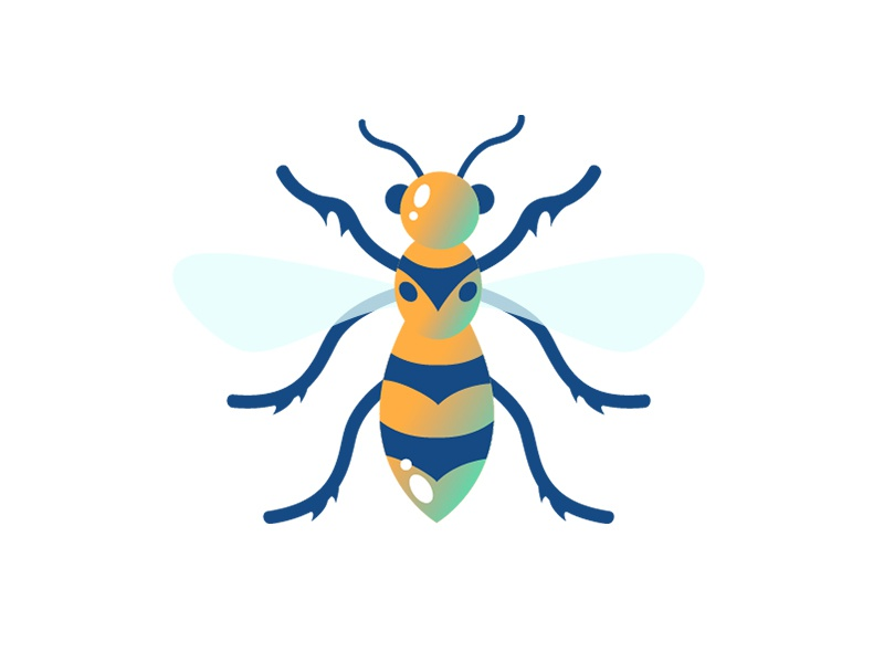 Wasp wings gradient vector insect illustration icon wasp emoji