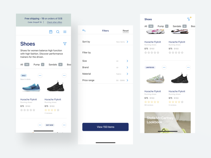 Visual exploration e-commerce filters listing