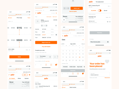 Zohr - Wireframes fleet service set wireframes tire replacement shop product new tire tire exchange