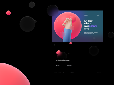 Landing page hand character landing