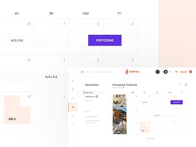 B 2.5 - Calendar timeline comparision calendar grid flat colour colourful