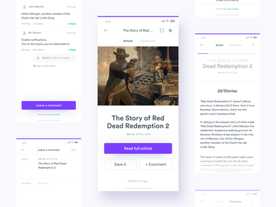 Gamefeed 2.0 - Article page (+Comments) article design news rss feed game app games game feed comments commentary article