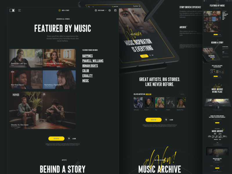 Music.com - Landing page yellow design ux landing page social music app music archive by music stories music.com music
