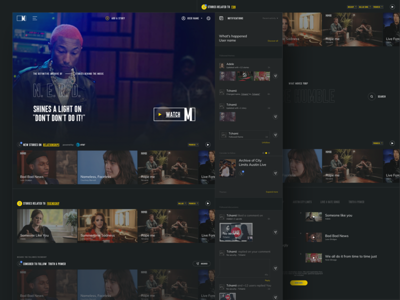 Music.com - Home page web design tonik stories social im other pharrell yellow music archive ux ui uidesign landing page home page music app music.com design by music