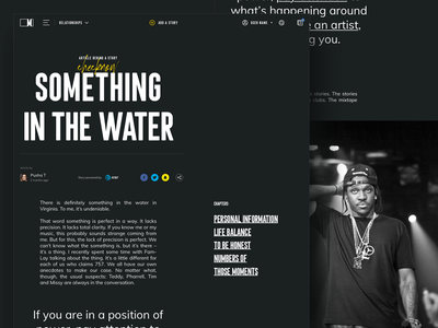 Music.com - Article/Blog interview pharrell by music music.com storytelling stories story webdesign long page review article blog