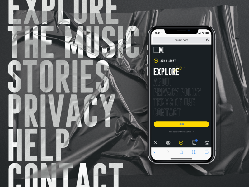 Music.com - Mobile web design ux ui music archive typography design typography story themes stories social app by music music burger menu navigation burger