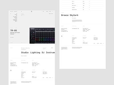 Skylark - Home page digital music typography minimal store music roland moog mpc techno minimalistic dj