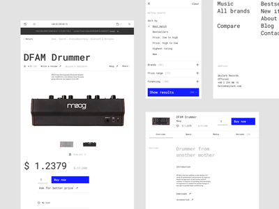 Skylark - Product typography store roland mpc moog minimalistic art techno minimalistic listing dj comments e-commerce product page product