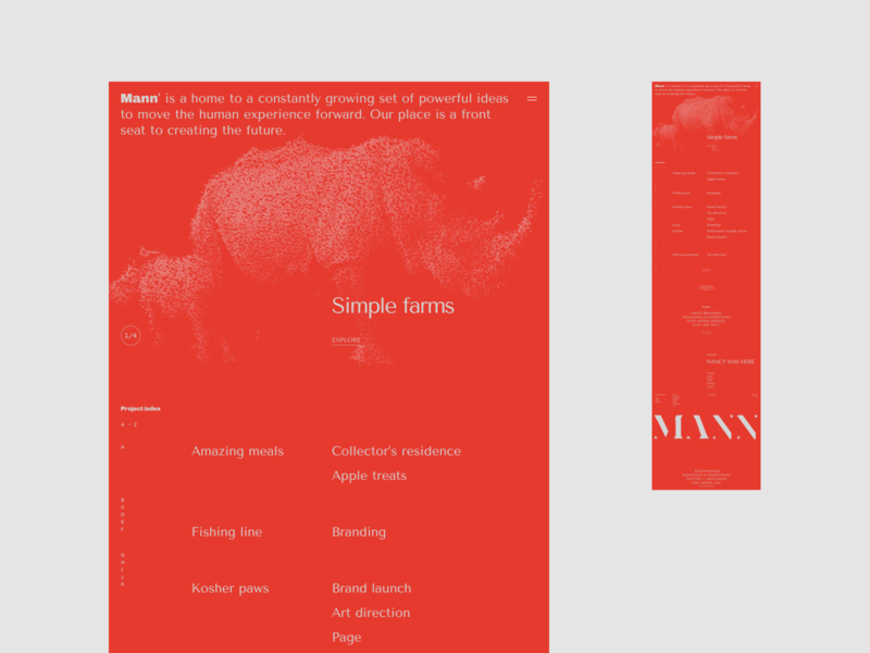 Mann' - Visual exploration typogaphy minimalistic red agency website projects portfolio agency landing page agency