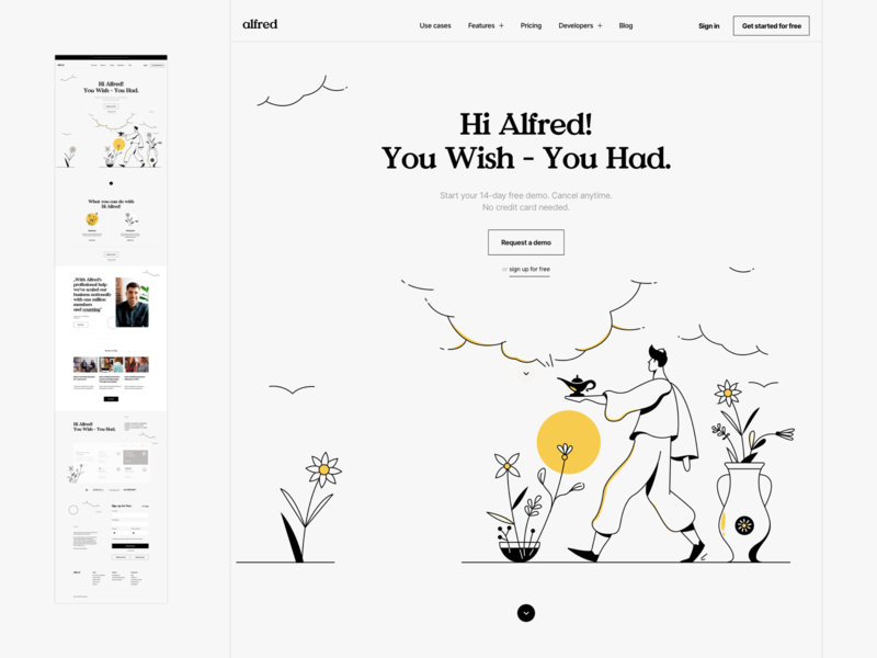 Hi Alfred! - Visual exploration typography product page landing alfred magic software illustration landingpage