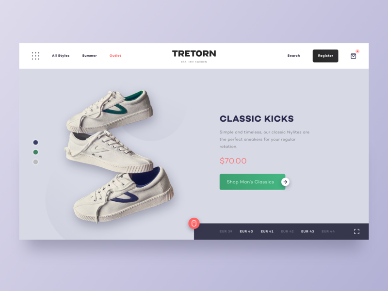 Landing Page for Tretorn  Sneakers product page online shop landing page tretorn shoes sneakers minimal flat uxdesign ux ui adobexd consept design uidesign ux ui design landing
