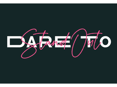 Dare To Stand Out grunge bold color conference design summit conference bold logo vector branding illustration pink lettering design typography