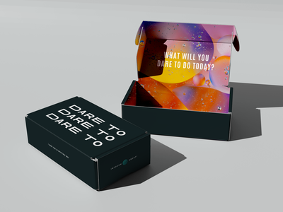 Dare To Box packaging box crazy pattern dare to dare color pop crazy bold branding texture pink lettering design typography