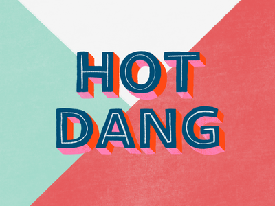 Hot Dang phrase hot procreate art procreate bold pink texture illustration design lettering typography