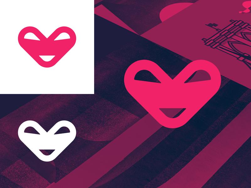 Pixelmoxie Mark identity design design vector symbol smiley heart smiley pixel moxie modern mark logotype logo design logo icon heart geometric clean branding brand identity bold