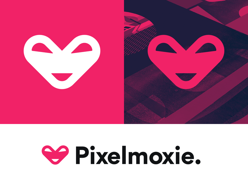 Pixelmoxie Logo vector symbol smiley heart smiley pixel moxie modern mark logotype logo design logo identity design icon heart geometric design clean branding brand identity bold