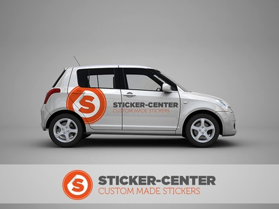 Car Mockup Sticker Center