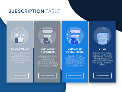 Graphic Hex - Subscription table pricing subscription price customize freelancer ui order design web hex graphic