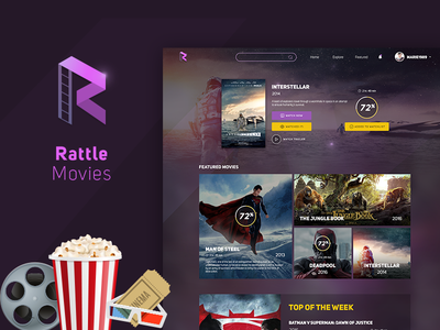 Rattle Movies - Website landing page design web design ui interface service solution header slider web website