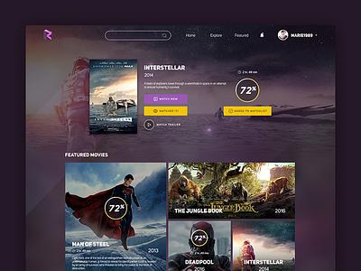 Rattle - View Movie web design web design ui metro featured rate view film cinema movies
