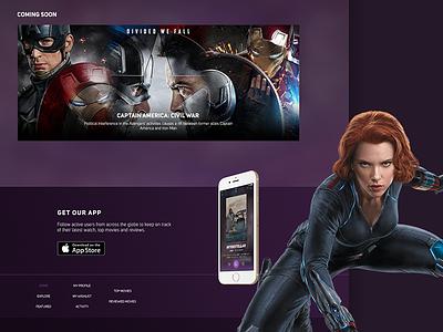 Rattle 2 black widow marvel ui design banner website app scarlett cinema movies footer web