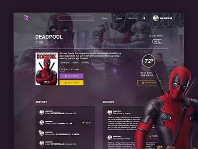 Rattle - Deadpool trailer comedy adventure watch view design ui deadpool cinema movies website web