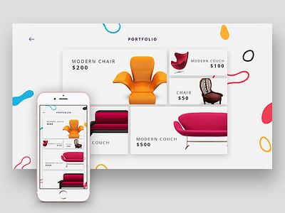 Chaickan - Furniture Portfolio sofa chair mobile responsive elegant furniture website ux ui design portfolio web