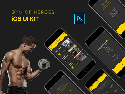 GoH - iOS UI Kit exercise outline shape onboarding workout healthy kit ios fitness ux ui gym
