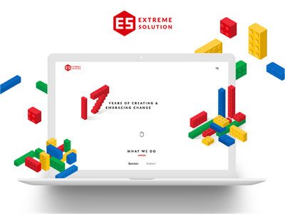 Extreme Solution - Website blocks isometric lego interface design website web app ui