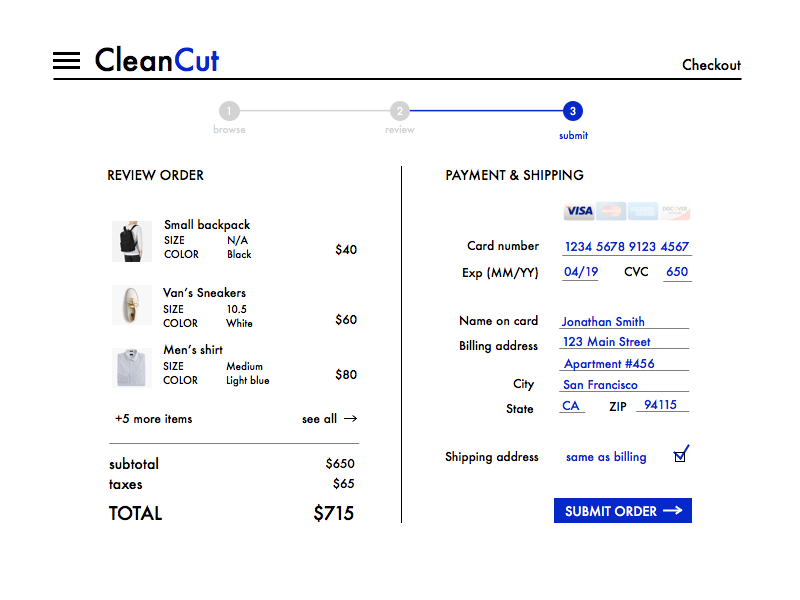 Daily UI 002 daily ui 002 ecommerce checkout