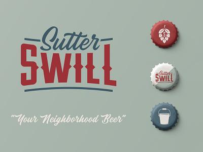 Sutter Swill Beer logo design beer branding beer art branding system logo brand design branding