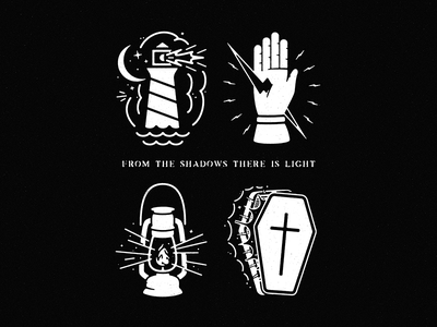 Ex Tenebris Lux hand lighthouse lantern coffin light secret badges catholic