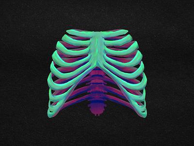 Rib Cage - Digital Painting scary digital painting ipad painting bones