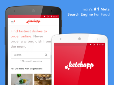 Ketchupp - India's First Meta Search Engine For Food flat responsive mobile food website app progressive ux ui