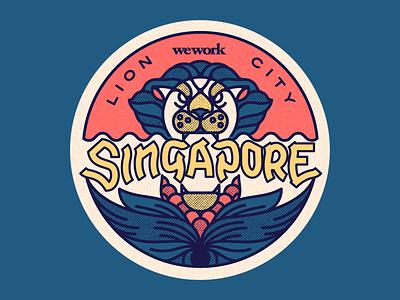 Wework Singapore merlion sticker singapore wework