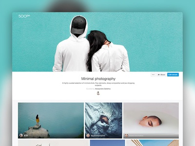 Galleries - Web view web design product design curation minimal photography 500px feature ui photo photos gallery