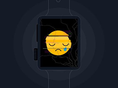 Oh noes. glitch broken glass tracker watch apple cracked