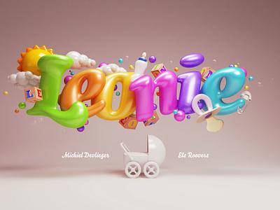 Leonie Birthcard  3d typography lettering cooper c4d cinema 4d vray