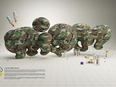Rizon Bubble style graffiti bubble lettering typo 3d letters camouflage c4d vray