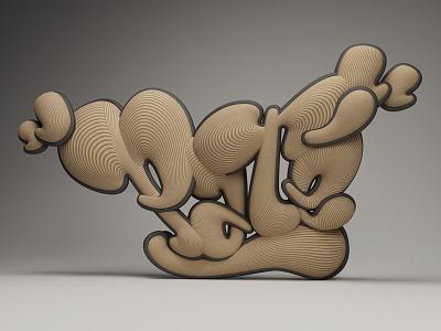 Für Paté. typography poster design 3d lettering bubble graffiti love type cgi c4d vray