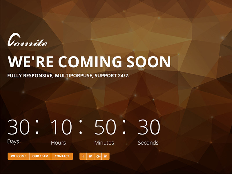 Comite - Timer Coming Soon PSD Template webdesign web subscription subscribe landing page landing blue realistic photoshop lights soon coming