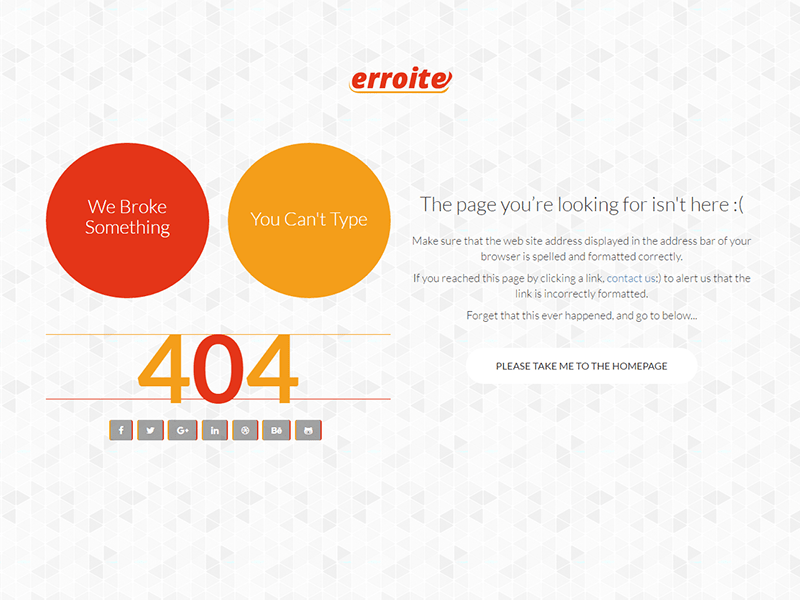 Erroite - Responsive 404 Error Page Bootstrap Template by
